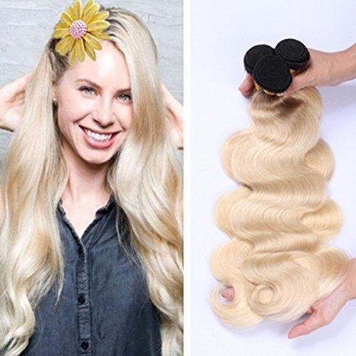 Ruma Hair 8A Brazilian Dark Root Blonde Ombre Hair Bundles Body Wave 3Pcs/Lot Two Tone Color 1B 613 Ombre Wavy Virgin Human Hair Extensions (18 18 18)