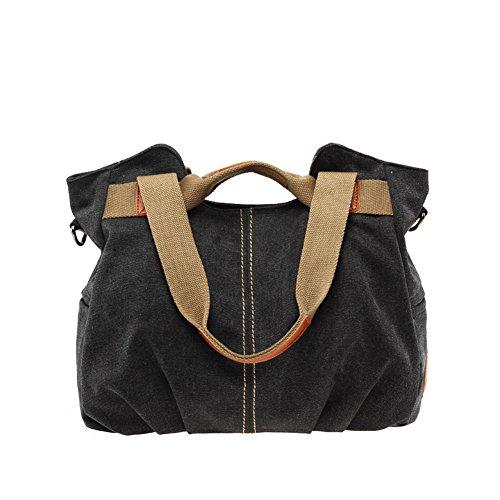 Majome Shoulder Bag Tote Canvas Top Handle Everyday Canvas Hobo Casual Women's Vintage Black