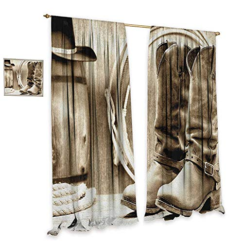 (homefeel Western Blackout Window Curtain Traditional Rodeo Supplies with Roper Boots in Vintage Nostalgic Wild Photo Patterned Drape for Glass Door W96 x L84 Black and White)