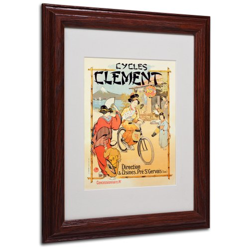 Cycles Clement with Wood Frame Artwork, 11 by 14-Inch