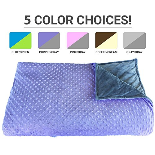 Premium Weighted Blanket, Perfect Size(XL) and Weight(12lb) For Adults and Children. Deluxe CALMFORTER Blanket Relieves Anxiety, Stress, Agitation, Insomnia. (Lavender Field Purple/Moonshadow Gray) by Platinum Health