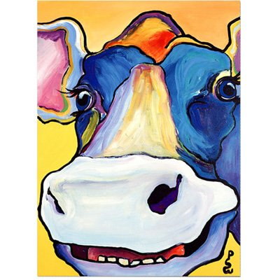 Red Cow Print - Trademark Fine Art Dairy Queen by Pat Saunders-White, 24x32-Inch Canvas Wall Art
