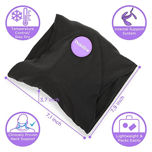 Travel Pillow Set : 100% Cotton Travel Neck Pillow with Memory Foam Support, Sleep Mask, Earplugs - Airplane Pillows - Flight Pillow Wrap for Sleeping Travel Accessories - Travel Essentials Black by Prokitline (Image #1)