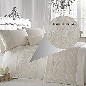 ZIGGUO 3-Pcs Luxury Duvet Cover Set King size -Lace and Sequin Embroidered Floral Pattern - Ivory Color,104 X 90""