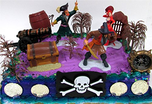 12 Piece PIRATE Yo Ho Yo Ho Birthday Cake Topper Set Featuring Random Pirate Figures and Decorative Themed (Peter Pan Jake And The Neverland Pirates)