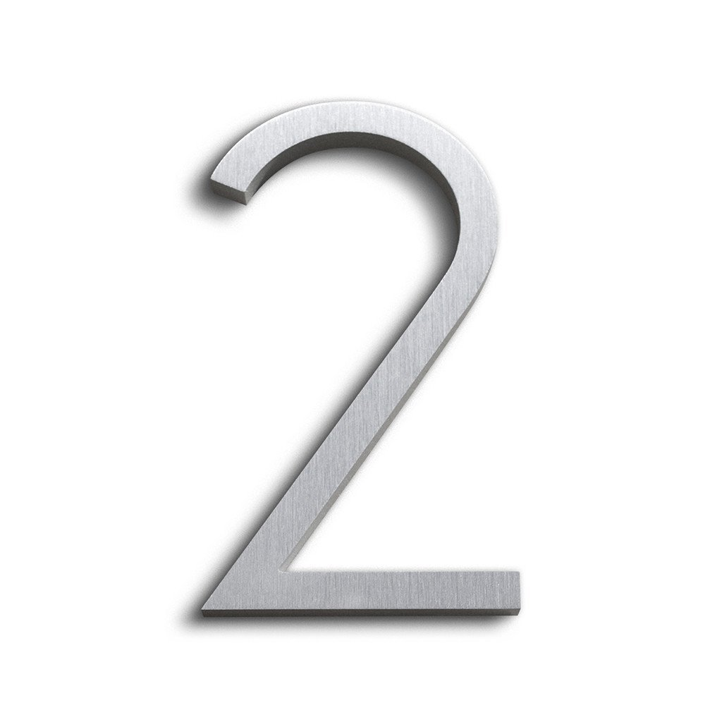 Modern House Number Aluminum Contemporary Font 6'' Tall Number 2