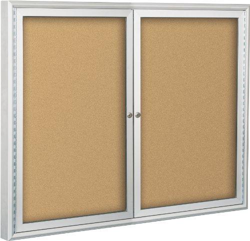 Indoor Enclosed Bulletin Board Cabinet, Natural Cork (94PSE-I-01) ()