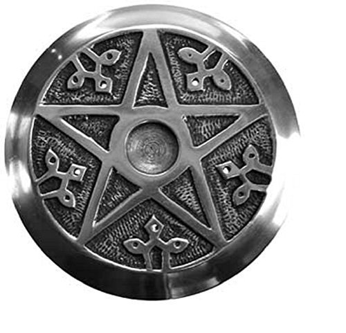 Pentacle Incense Metal Burner Round 4.5 inch & Altar Tile