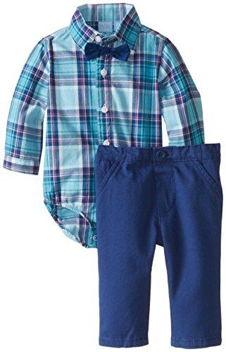 The Children's Place Baby-Boys Newborn Bow Tie Shirt and Pants Set, Calm Blue, 3-6 Months