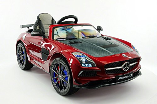 2017 Mercedes SLS AMG 12V Power Ride on Toy with UV Lights, Leather Seat, Built in LCD TV - Girls Power Wheels Two Seats