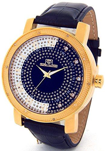 Super Techno Diamond Watch Mens Genuine Diamond Watch Oversized Gold Case Leather Band w/ 2 Interchangeable Watch Bands #M-6154 (Super Techno Watches For Men Gold compare prices)