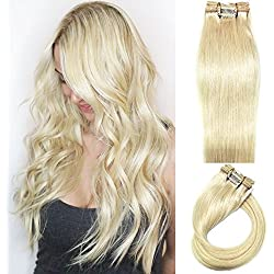 Myfashionhair Clip in Hair Extensions Real Human Hair Blonde15 inches 70g Clip on for Fine Hair Full Head 7 pieces Silky Straight Weft Remy Hair (15 inches, #60)