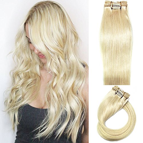 Myfashionhair Clip in Hair Extensions Real Human Hair Blonde 20 inches 70g Clip on for Fine Hair Full Head 7 pieces Silky Straight Weft Remy Hair (20 inches, #60)