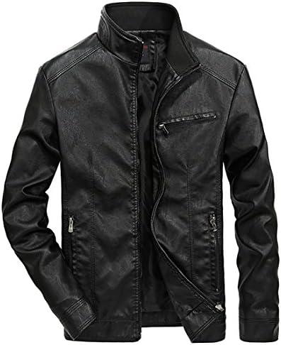Nantersan Men's Leather Jacket Stand Collar PU Mens Faux Fur Coats Motorcycle Jacket