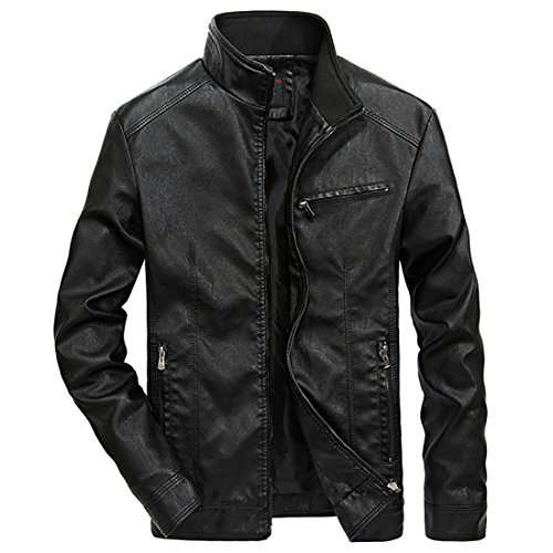 bec041da5341 Nantersan Men s Leather Jacket Stand Collar PU Mens Faux Fur Coats ...