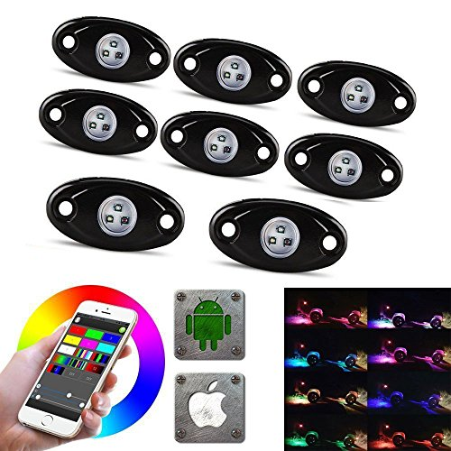 LED Rock Light Kits with 6/8 Pods RGB Lights for for Trucks, Jeeps, SUV, ATV – Offroad, Crawling, Climbing Waterproof, SoundSync, Bluetooth App Controls Lamp Waterproof (8 pod FBA)