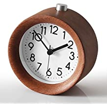 Small Bedside Silent Alarm Clock,Aimarytech Creative Wood Clock Desk Clock Travel Clock,Snooze,Night light,No Ticking,Accurate Time,Battery Powered,Nice Package(Brown)
