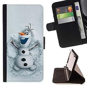 FUNNY WINTER CARTOON HAPPY SNOWMAN KIDS/ Personalizada del estilo del dise???¡Ào de la PU Caso de encargo del cuero del tir????n del soporte d - Cao - For HTC One M7