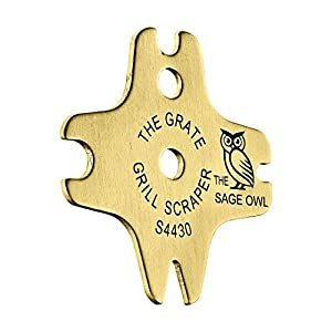 The Grate Grill Scraper - Brass Barbque Grill Cleaner - Safe, Bristle Free Grill Cleaning of Porcelain and Teflon Coated Grates on Gas Barbque, Electric, Infrared and Ceramic Grills by The Sage Owl