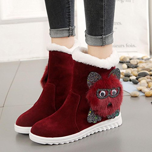 LuckyBB Womens Owl Ankle Snow Boots Wine xPlB0eEL