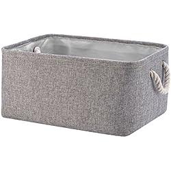 Perber Storage Baskets,Decorative Collapsible Rectangular Linen Fabric Storage Bin,large enough for Storage Box,Kids Toys,Pet Toys,Baby Clothing, Bedroom,Snacks,Closet Organizer