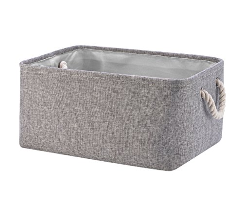 Perber Storage Baskets,Decorative Collapsible Rectangular Linen Fabric Storage Bin,Underwear,Tie,Bras,Socks,Closet and Dresser Organizer- Grey Small (Underwear And Socks)