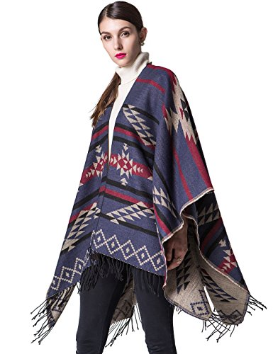 Women's Open Front Loose Fine-Knit Cardigan Warm Sweater Blanket Pashmina Shawls and Wraps Sleeveless Cashmere Scarves Bat Poncho Cape Coat 3x Dark Blue
