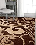 Melanie Floral Brown & Beige Modern Geometric Comfy Casual Fleur-de-Lis Hand Carved Area Rug 5x7 ( 5'3'' x 7'3'' ) Easy to Clean Stain Fade Resistant Contemporary Thick Soft Plush Living Dining Room