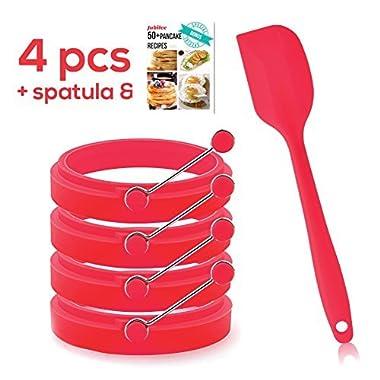 Jubilee Egg Ring Set Pancakes Molds - 4 Pancake Molds Egg Rings Nonstick Silicone Stainless Steel
