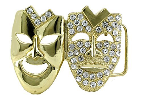 - HIP HOP BLING ICED OUT Gold Tone Drama Face Laugh now Cry Later BELT BUCKLE