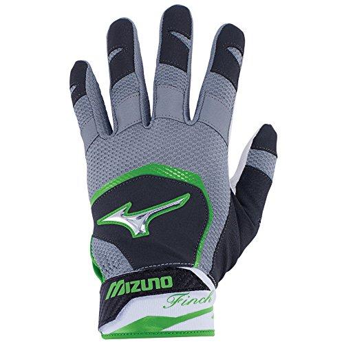 Mizuno Finch Adult Women's Fastpitch Softball Batting Gloves, X-Large, Black/Optic/Sulphur