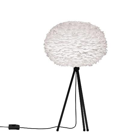 EOS - Lámpara de mesa pluma blanco/tripode negro ø35 cm - Lámpara ...