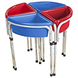 ECR4Kids Assorted Colors Sand and Water Adjustable Activity Play Table Center with Lids, Round (4-Station)