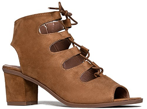 Gladiator lace up Low Heel Bootie - Chunky Block Ankle Boot - Trendy Tie Up Sandal - Twirl by J. - And Burch Tony