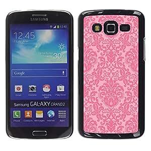 Vintage rústico retro Pink Wallpaper - Metal de aluminio y de plástico duro Caja del teléfono - Negro - Samsung Galaxy Grand 2