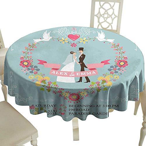 WinfreyDecor Easy Care Tablecloth Retro Wedding Invitation Bride Groom Floral Wreath Borders Indoor Outdoor Camping Picnic D71