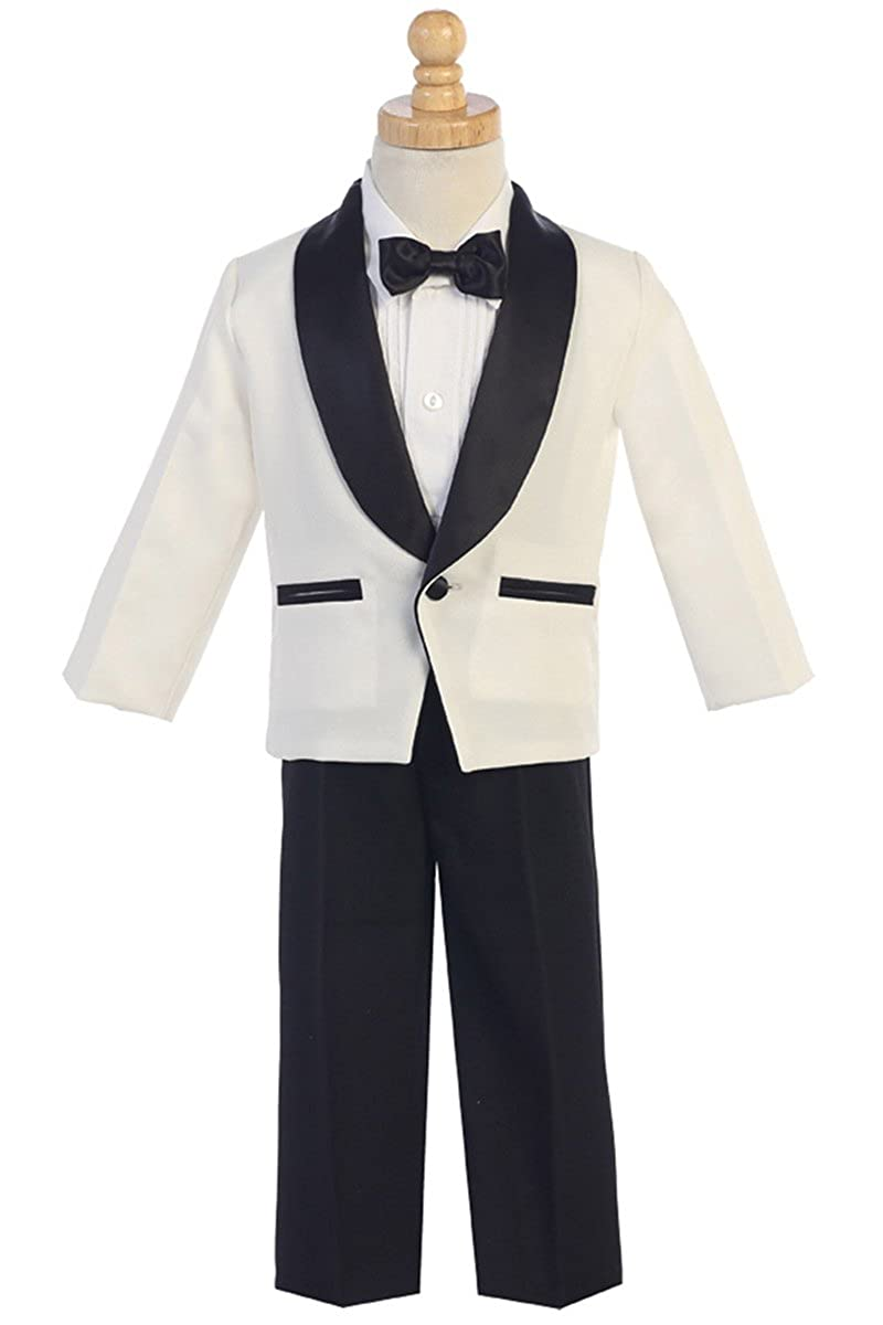 Lito Childrens Wear Ivory & Black Dinner Jacket w/Pants 4 PC Tuxedo L7580-IVBK