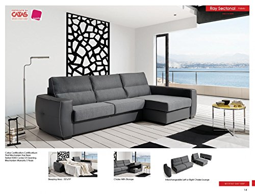 ESF Ray Grey Reversible Fabric Leather Sectional Sleeper Sofa w/ Storage Made In Spain