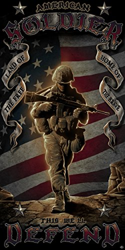 Army Beach Towel (Best Bath Towels, Extra Soft Thick 100% Cotton Hotel Quality Bath, American Heroes Guest & Beach Towels, Luxury Pool Towels, Military Gifts For Men or Women (American Soldier))