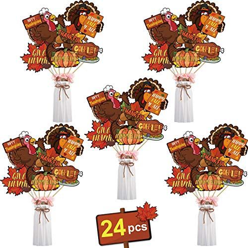 24 Pieces Thanksgiving Sign Cutouts Thanksgiving Feast Party Supplies Thanksgiving Party Decorations Centerpiece Sticks Table Cake Toppers Photo Booth Props with 6 Style Design