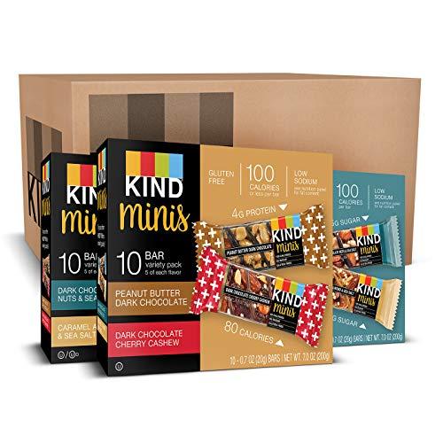 Nuts Mini (KIND Bar Mini's, Variety Pack, Gluten Free, 100 Calories, Low Sugar, .7oz Bar, 30 Count)