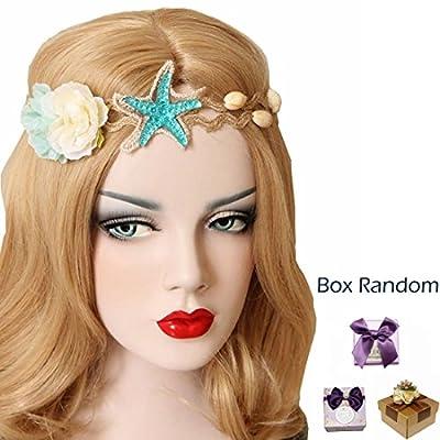 Scala Fashion Ocean Acrylic Starfish Real Shell Wave Headband Elastic Hairband Rose Flowers Forehead Bands Mermaid Hair Accessories Mermaid Hair Band Mermaid Headband