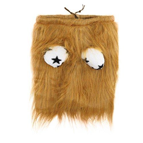 Denim Cap Headgear (Cute Lion Mane Wig Headgear Costume For Puppy Dog (Brown, M))