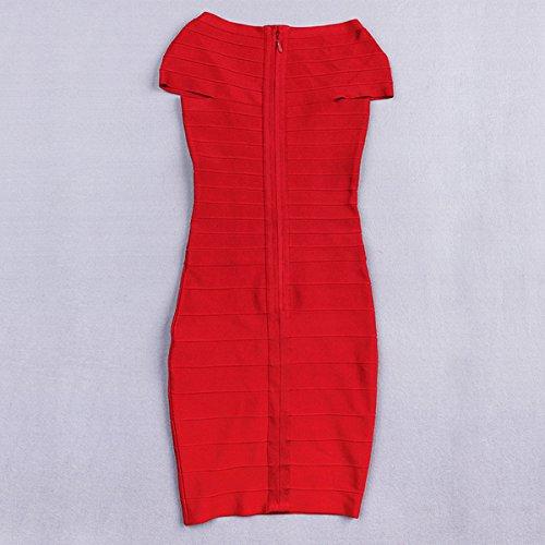 Rot Blau Kleid HLBCBG Damen Rot Rot q58wXYx