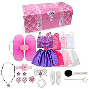 fedio 20PCS Girls Role Play Dress up Trunk Pretend Play Costume Set For Kids (Ballerina, Princess, Elf, Pop star) - 51 J8rn siL - 20PCS Girls Role Play Dress up Trunk Pretend Play Costume Set for Kids (Ballerina, Princess, Elf, Pop Star) Pink