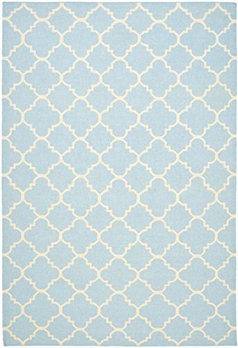683726385219 - Safavieh Dhurries Collection DHU554B Hand Woven Light Blue and Ivory Premium Wool Area Rug (5' x 8') carousel main 0