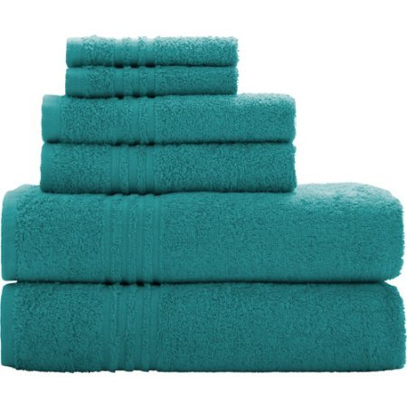 Mainstays Essential True Colors Bath Towel Collection, 6-Piece Set (Teal) by Mainstay