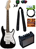 Squier by Fender Mini Strat Electric Guitar - Black Bundle with Amplifier, Instrument Cable, Tuner, Strap, Picks, Austin Bazaar Instructional DVD, and Polishing Cloth