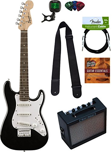 squier by fender mini strat electric guitar black bundle with amplifier instrument cable. Black Bedroom Furniture Sets. Home Design Ideas