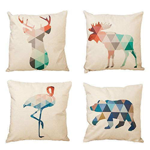 4-Pack Cotton Linen Sofa Home Decor Design Throw Pillow Case